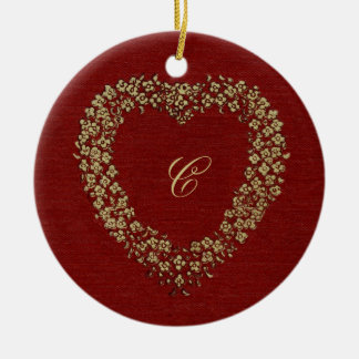 Floral Red Vintage Heart Initial Christmas Love Ceramic Ornament
