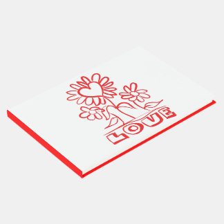 Floral Red & White Flowers Wedding / Party Guest Book