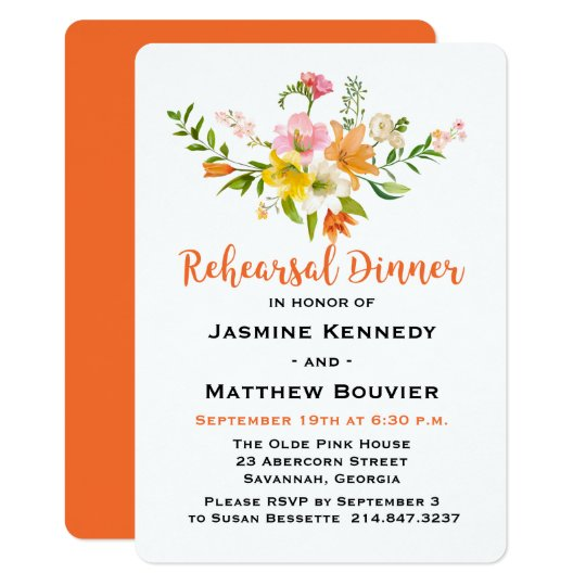 Floral Rehearsal Dinner Lily Flowers Orange, Green Card