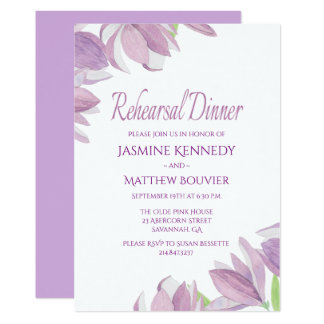 Floral Rehearsal Dinner Purple Watercolor Flowers Card