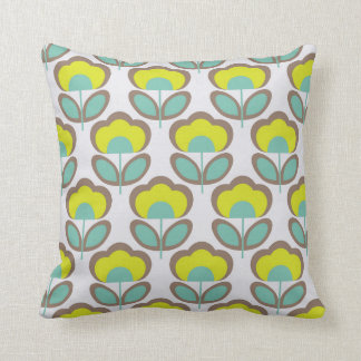 Floral Retro 70's Wallpaper Pattern Throw Pillow