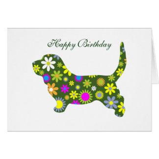 Floral retro flowers basset hound birthday card