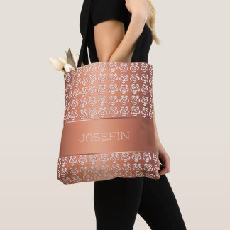 floral retro gradient  pattern. Name. Tote Bag