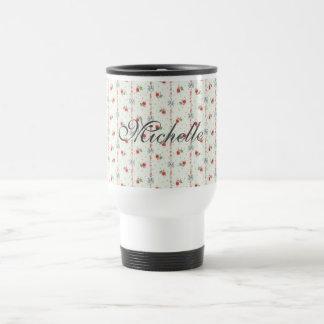 Floral Retro Nostalgic Chic Personalize Michelle Travel Mug