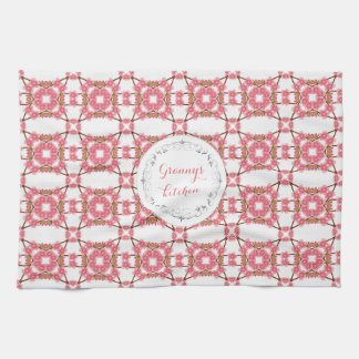 floral retro pattern.text. kitchen towel