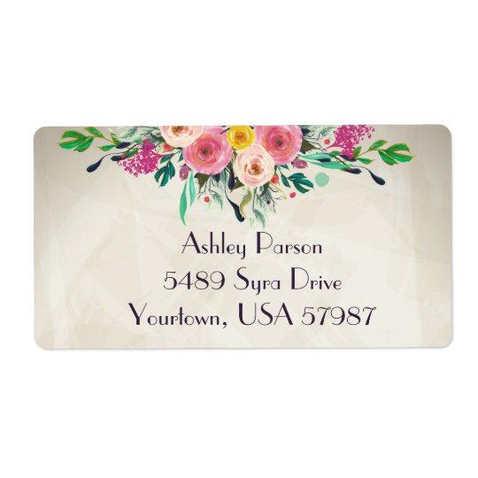 Floral return address label