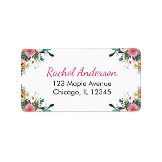 Floral return address labels, watercolor flowers