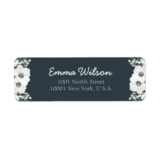 Floral Return Address Labels With White Flowers