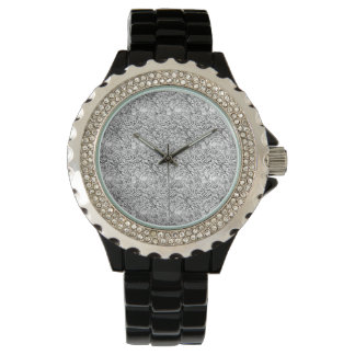 floral Rhinestone Black Enamel Wrist Watches