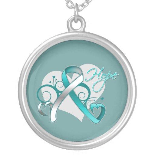 Floral Ribbon Hope - Cervical Cancer Necklace