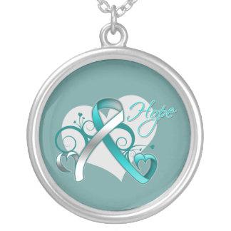 Floral Ribbon Hope - Cervical Cancer Round Pendant Necklace