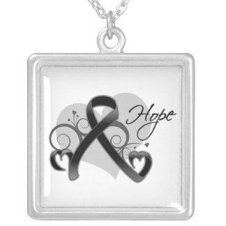 Floral Ribbon Hope - Skin Cancer Square Pendant Necklace