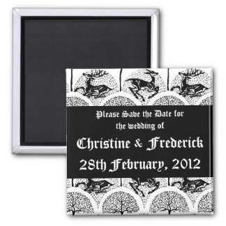 Floral Rococo Wedding, square save the date magnet