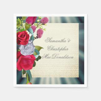 Floral romantic flower bouquet wedding disposable napkins