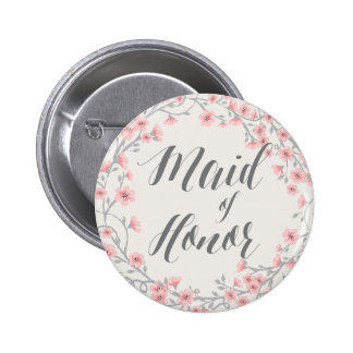 Floral Romantic Pink Buttons Wreath Maid Of Honor