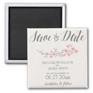 Floral Romantic Save The Date Magnets Pink Flowers