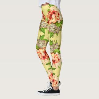 Floral Romantic Yellow Girly Leggings
