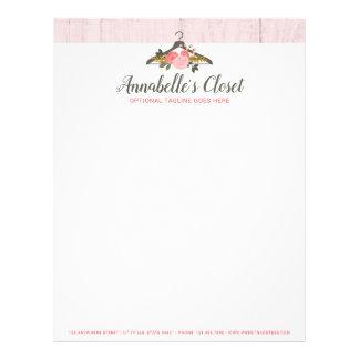 Floral Rose Clothes Hanger Closet Fashion Boutique Letterhead