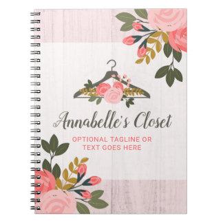 Floral Rose Clothes Hanger Closet Fashion Boutique Spiral Notebook