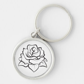 Floral Rose Flower Black And White Wedding Party Keychain