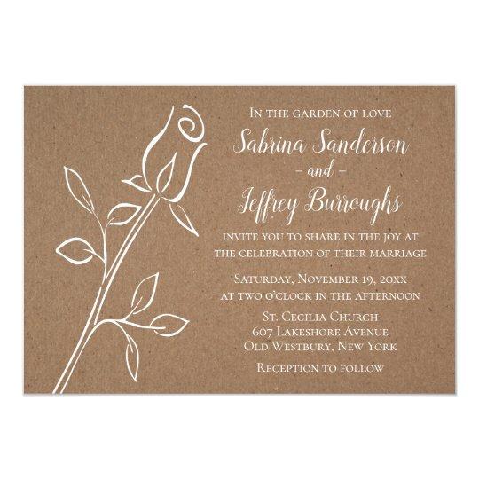 Floral Rose Flower Rustic Country Kraft Wedding Card