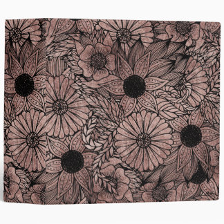 Floral Rose Gold Flowers and Leaves Drawing Black 3 Ring Binder