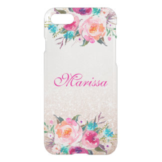 Floral Rose Gold Glitter Uncommon iPhone 7 Case