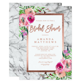 Floral Rose Gold Marble Wedding Bridal Shower Card