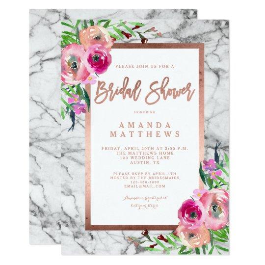 Floral Rose Gold Marble Wedding Bridal Shower Card
