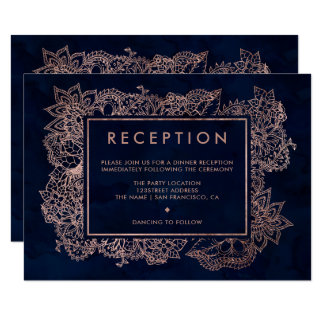 Floral rose gold navy watercolor reception wedding card