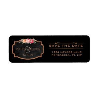 Floral Rose Gold Save the Date Chalkboard Wedding Return Address Label