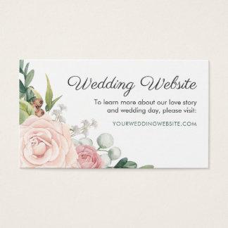 Floral Rose & Greenery Wreath Wedding Website Card