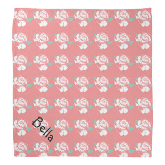 Floral Rose Pattern White Pink Mint Art Petwear Bandana