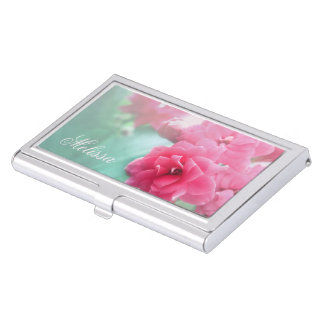 Floral rose photo custom name business card holder