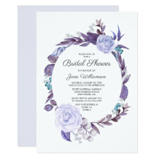 Floral Rose Purple Leaves Wreath Bridal Shower Card