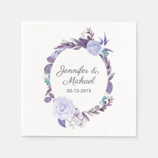 Floral Rose Purple Leaves Wreath Wedding Paper Napkin