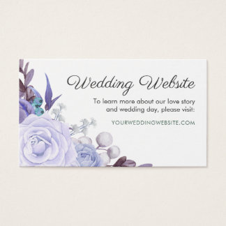 Floral Rose Purple Leaves Wreath Wedding Website Business Card