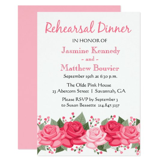 Floral Rose Rehearsal Dinner Pink Flowers Wedding Card