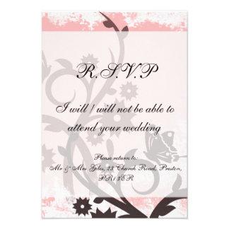 Floral rose sale et papillon RSVP Cartons D'invitation