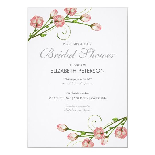 Floral Roses Bridal Shower Invitation