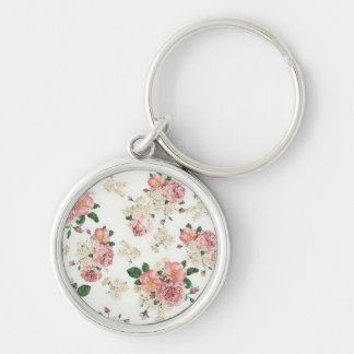 Floral Roses Silver-Colored Round Keychain