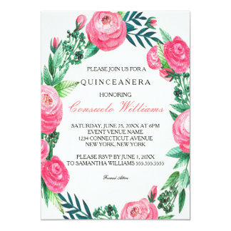 Floral Roses Watercolor Leaves Card