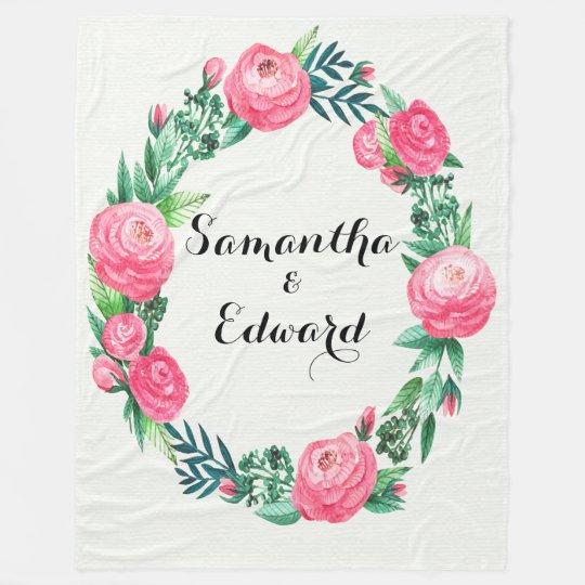 Floral Roses Watercolor Leaves Fleece Blanket