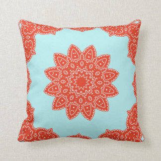 Floral Rosetta Pattern in Red & Teal Pillowcase Throw Pillow