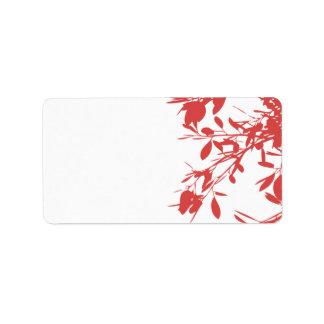 Floral rouge étiquette d'adresse