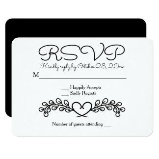 Floral RSVP Black White Wedding Laurel Heart Card
