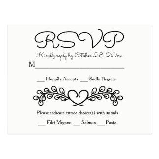 Floral RSVP Black White Wedding Laurel Heart Postcard