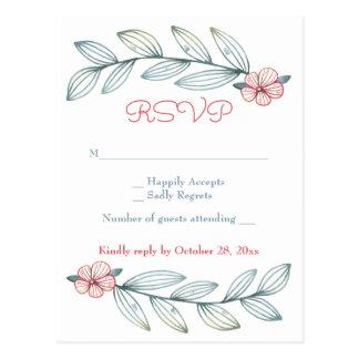 Floral RSVP Blue Gray Laurel Leaves Red Flowers Postcard