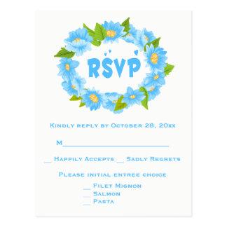 Floral RSVP Blue Turquoise Flower Wedding Wreath Postcard