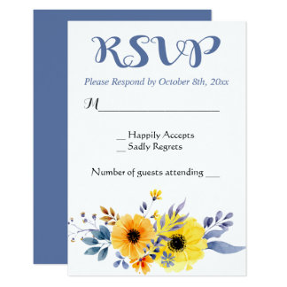 Floral RSVP Blue & Yellow Flowers Wedding Card